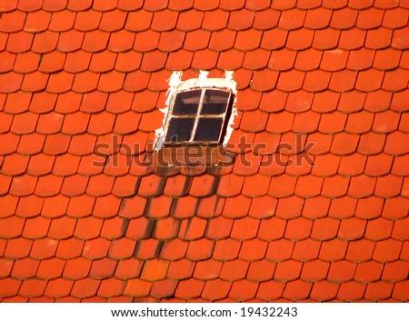 window on the roof - stock photo