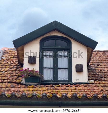 Window on the roof - stock photo