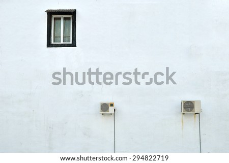 Window on the white wall. Vintage effect. Minimal background. - stock photo
