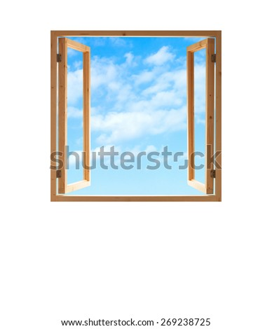 window open wooden frame  sky view isolated white background - stock photo