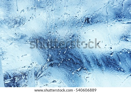 Window Panes Are Frozen In A Beautiful Textural Drawing Cool Colors Background