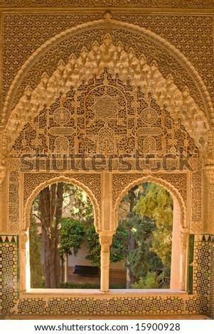 Window portal beautifully decorated in moorish style - stock photo