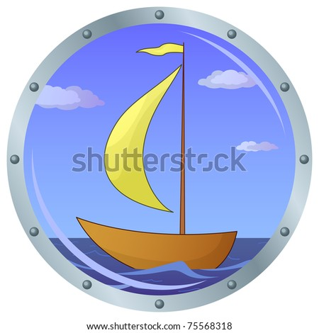 Window porthole with the ship floating on the sea and the blue sky with clouds - stock photo
