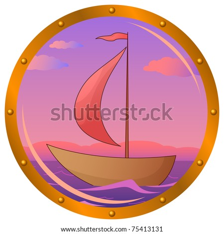 Window porthole with the ship floating on the sea in the morning on sunrise - stock photo
