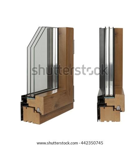 window profile wood and aluminum isolated on white - stock photo