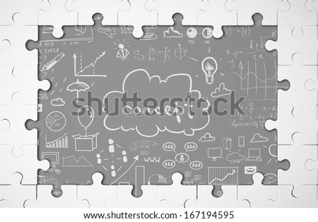 window puzzle and drawing business concept - stock photo
