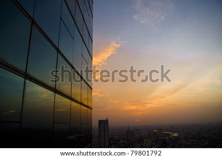 Window reflect at sunset