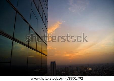 Window reflect at sunset - stock photo