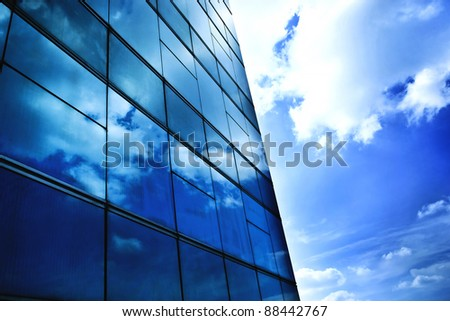 window reflection dayligh as blue background - stock photo