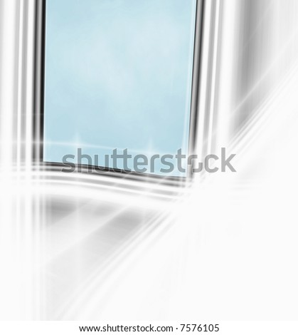 Window Scene Looking Out To Blue Sky - stock photo