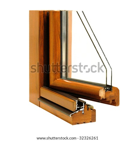 window section isolated on white background - stock photo