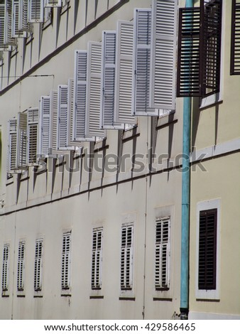 Window shutters of Zagreb city government office building in Croatia