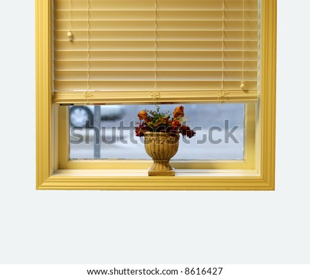 Window sill with planter - stock photo