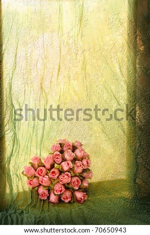 Window sill with rose heart (vintage rusty paint effect) - stock photo