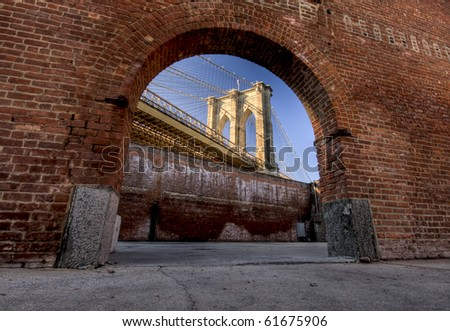 Window to Brooklyn Bridge - stock photo