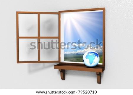 Window to the World - stock photo