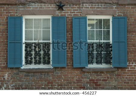 Window treatment, historic home, Savannah, Georgia - stock photo