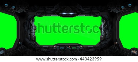 Window view from a space station in space green background '3D rendering' - stock photo
