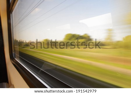 Window view from a train - stock photo