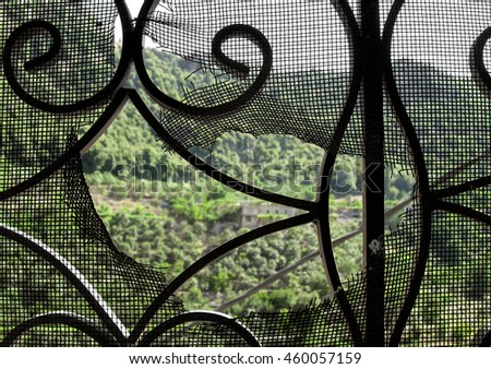 Window view of a mountain house through a torn mesh.