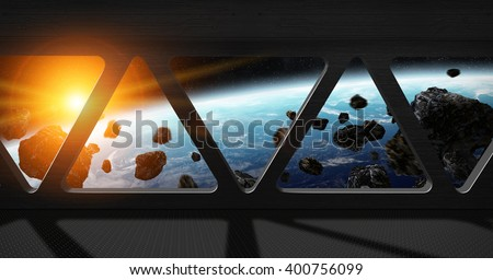 Window view of planet earth from a space station 'elements of this image furnished by NASA' - stock photo