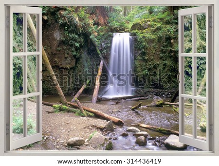 Window view to deep forest waterfall in the heart of the Great Otway National Park. - stock photo