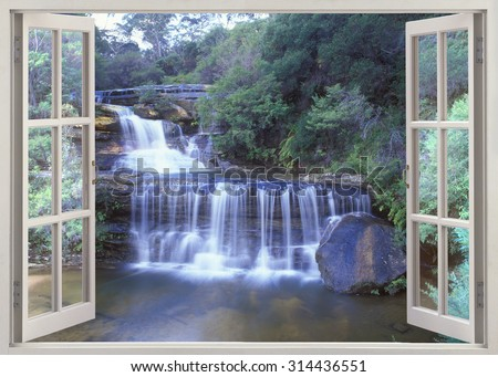 Window view to Wentworth Walls waterfall in Blue Mountains, Australia