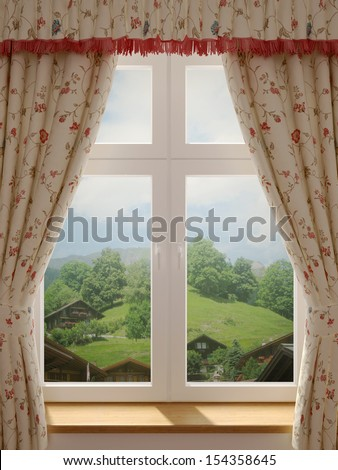 Window with a wonderful view of the village and decorating in country style curtains - stock photo