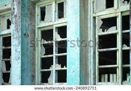 window with broken glass texture - stock photo