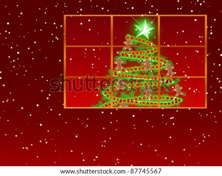 Window With Christmas Tree Decorated with Red Garland, Green Stars and Gingerbread Men ~ Snowing Red Background