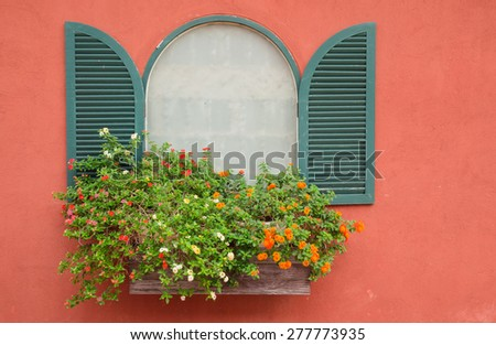 Window with flower box - stock photo