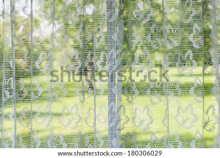 Window with lace curtains looking out to green summer park - stock photo