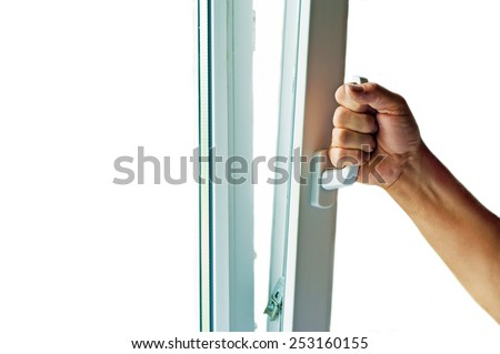 window with mosquito net - stock photo