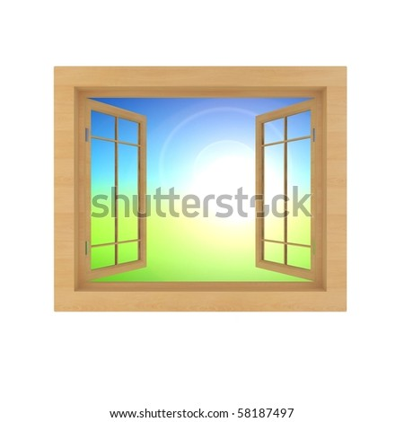 window with nature view isolated on a white