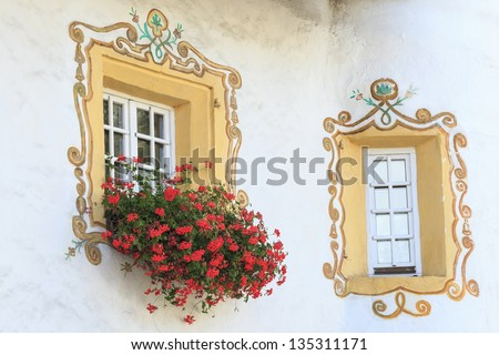 Window with painted decoration and flowers - stock photo