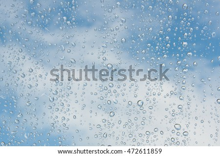 Window with rain drops and a cloudy blue sky outside