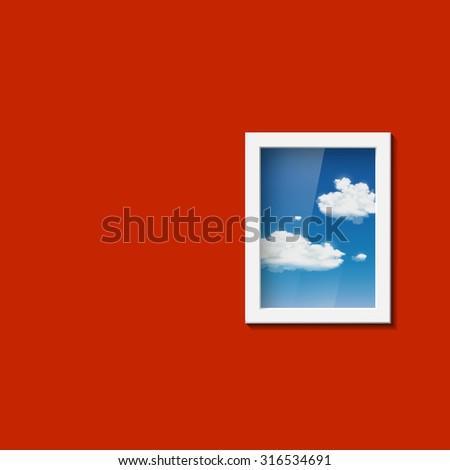 Window with sky and clouds. Stock image. - stock photo