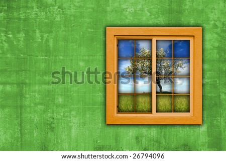 window with spring landscape view - landscape orientation