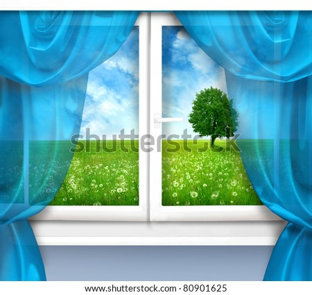 window with view of the beautiful landscape - stock photo
