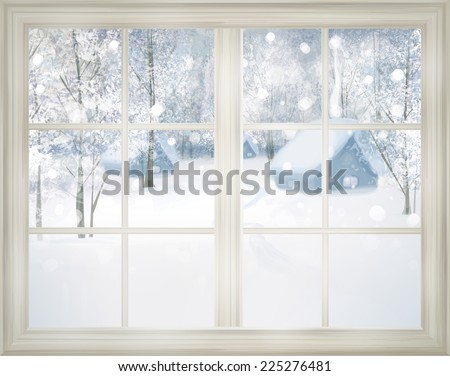 Window with winter view of snowy background. - stock photo