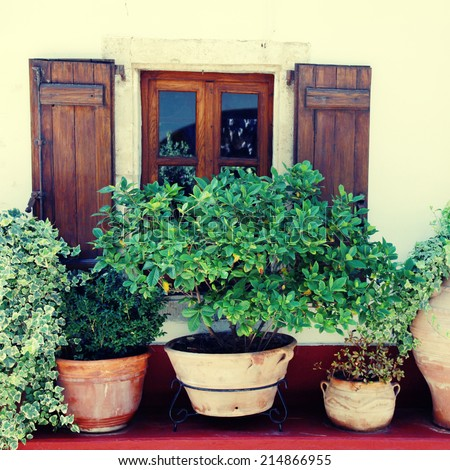 Window with wood shutters and many flower pots in old home (Crete, Greece), instagram effect, square image - stock photo