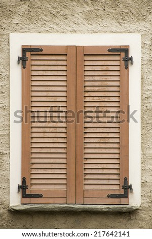 Window Wood Shutters of Home wood closed - stock photo