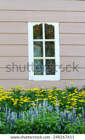Window Wooden , Decorated With Fresh Flowers - stock photo