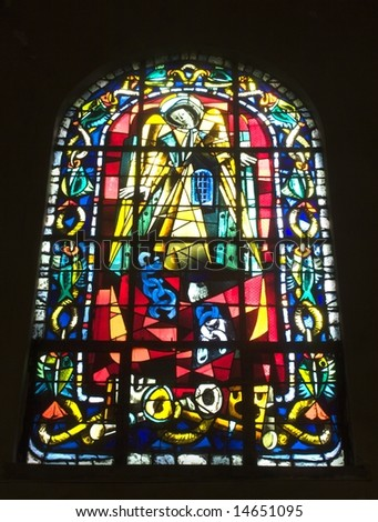 windowpane from st. peter gothic chruch in Paris - Monmartre