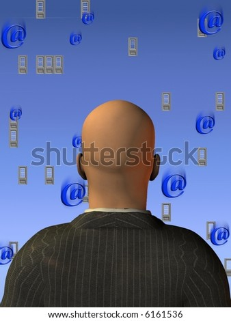 """Windows and """"at"""" symbols - Email - Many Email - Operating System - stock photo"""