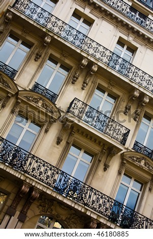 Windows And Blaconies Pattern In Paris Palace - stock photo
