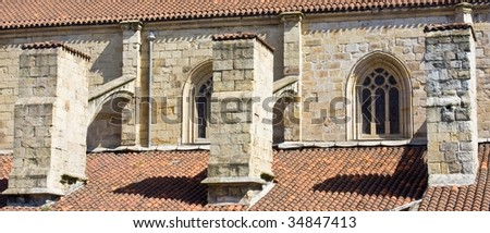 Windows and columns of an old building 2 - stock photo