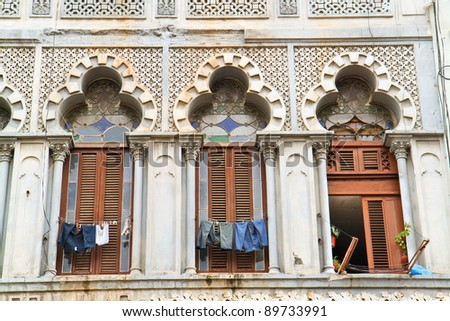 Windows and  details of facade from vintage colonial building in Havana, Cuba - stock photo