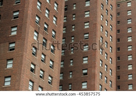 Windows and exterior of the downtown brick buildings.  Chicago, Illinois, U.S.A.. - stock photo