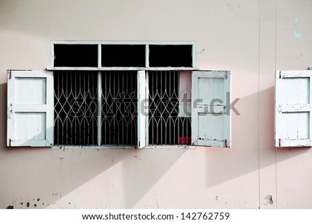 windows and white wall. - stock photo